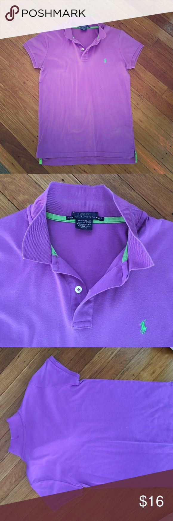 Ralph Lauren Sport Slim Fit Polo 👚 Well loved slim fit polo shirt by Ralph Lauren Sport. Unique deep lilac color with neon green logo. Slight piling but non noticeable when on. Perfect for that casual preppy look. Feminine cap sleeves. 100% cotton. Size M on tag but slim fit so perfect for a size small person. Ralph Lauren Tops