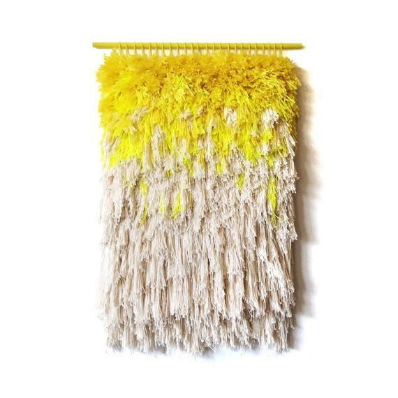 Woven wall hanging / Furry lemon dreams // Handwoven by jujujust