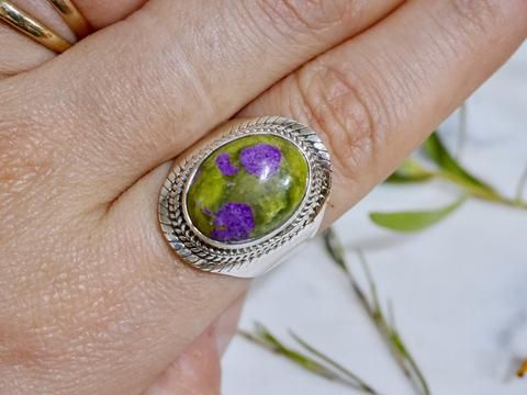 Atlantisite ring. stichtite and serpentine bohemian ring