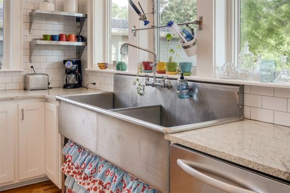 """Interesting. Old commercial sink repurposed into a residential home. Maybe not considered """"repurposed"""" but still, the idea does have some merit"""
