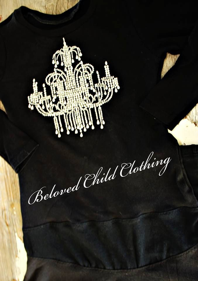 Rhinestone Chandelier Little Black Dinner Girls Upcycled Dress and Leggings 2 pc set Best fits size 5/6 x Beloved Child Clothing Made in USA by SummerHouseDesigns on Etsy