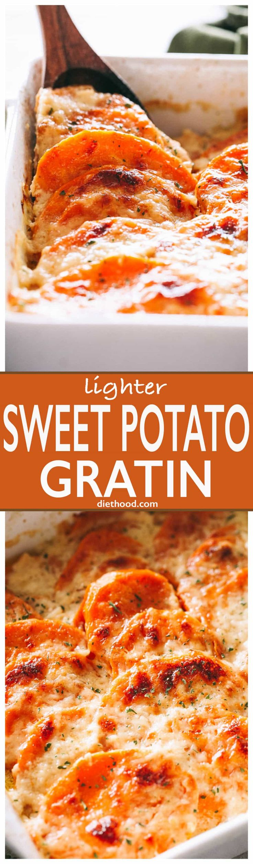 Sweet Potato Gratin- Lightened up, creamy, cheesy, seasoned sauce makes this sweet potato gratin simply irresistible!#sweetpotatogratin #sidedish #thanksgiving via @diethood