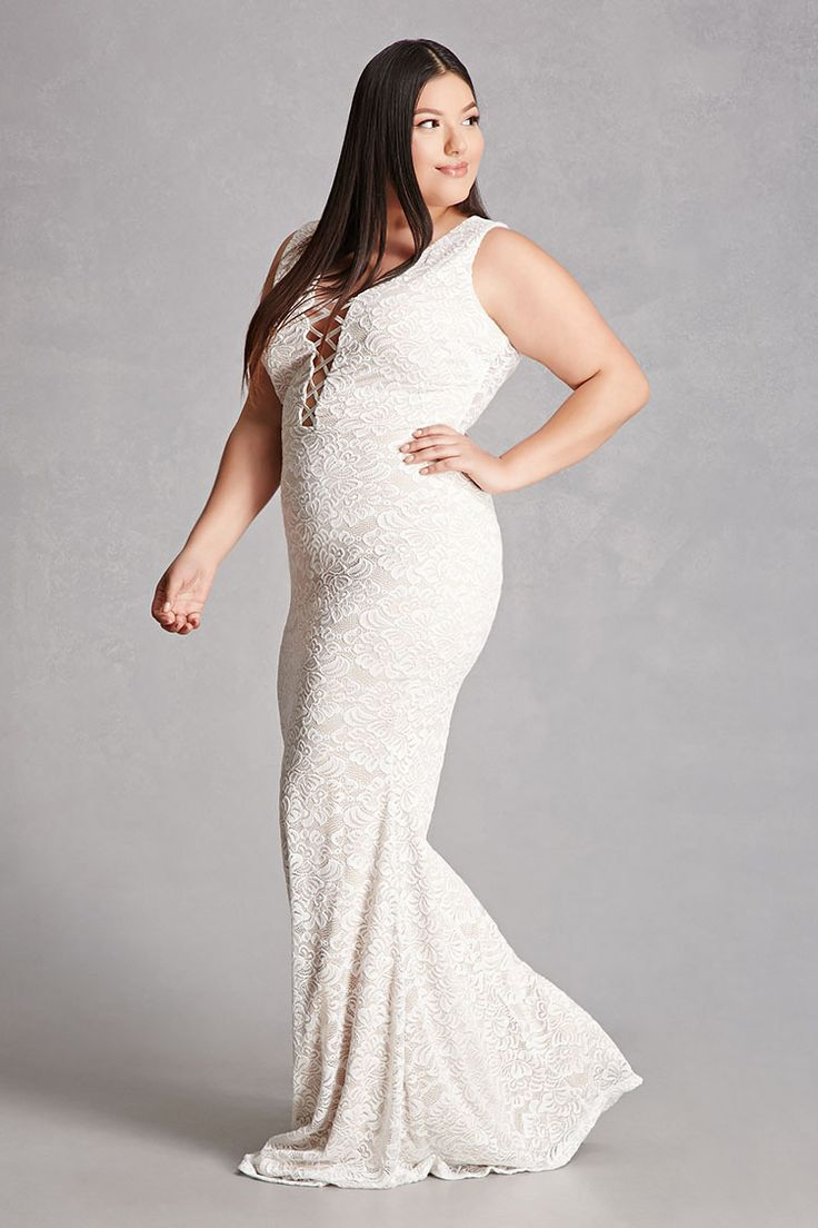 Forever a knit lace maxi dress featuring a plunging neckline