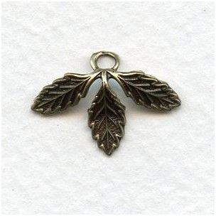 Three Leaves with a Loop Oxidized Brass - VintageJewelrySupplies.com