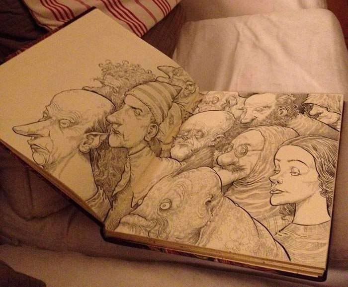 a peek at chris riddell's fabulous sketchbooks