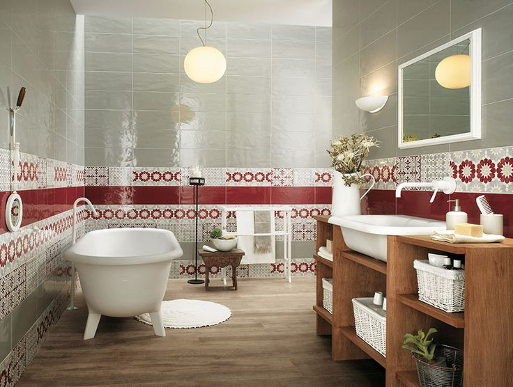 bathroom red white bathroom border tiles hanging lamp white bath wooden rack mirror wastafel white round mat wooden floor luxury top to toe fancy