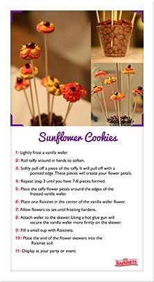 #Raisinets Crafts Cute little Sunflower cookies...and the soil rocks too!