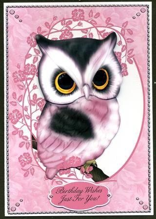 Card Gallery - Cute Pink Owl Birthday Greeting Card