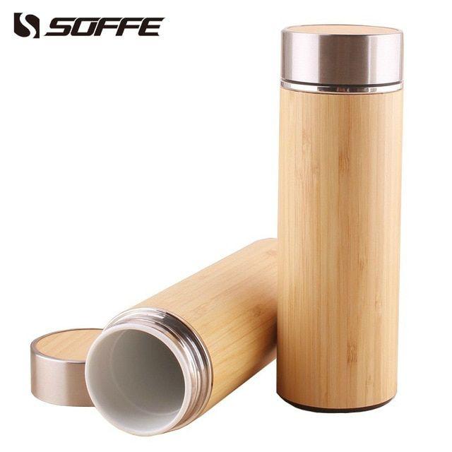 Soffe 320ml Creative Bamboo Ceramic Vacuum Thermos Bottles Tea Coffee Mug Insulated Thermos Tumbler Vacuum Flasks Of Thermos Bottle Vacuum Flask Ceramic Bottle