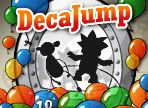 DecaJump - http://www.littlemonstersgames.com/decajump/ - Description  Jump through time with some of Miniclip's most popular game characters. Use the Time Machines to change character and jump as high as you can by collecting the balloons. Don't forget to pick up as many coins and bonuses as possible on the way up!  Instructions