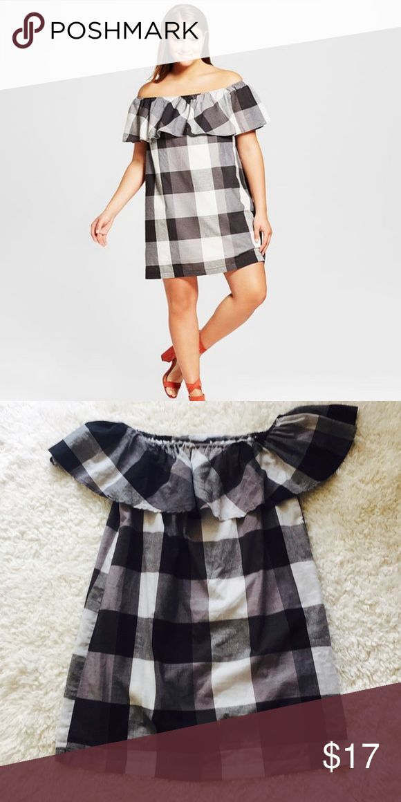 """Who What Wear Collection """"Bardot"""" Mini Dress NWOT Black and white gingham print ruffle off-the-shoulder dress. Two layers. Stretch top. Cotton/poly. 30"""" length. Target Dresses Mini"""