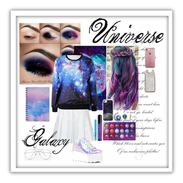 Universe Galaxy by reemily on Polyvore featuring mode, Y.R.U., Express, Casetify, Speck, BHCosmetics, NYX and Forever 21