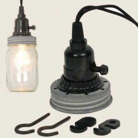Mason Jar Pendant Lamp Kit in Weathered Galvanized