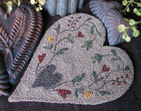 Free Needle Punch Pattern Antique Heart Punchneedle Embroidery By Jan And Mice Of