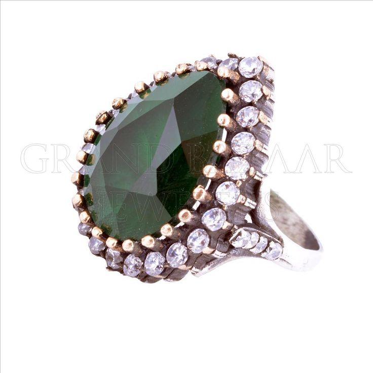 Hurrem Sultan Turkish Silver Green Emerald Jade Ring