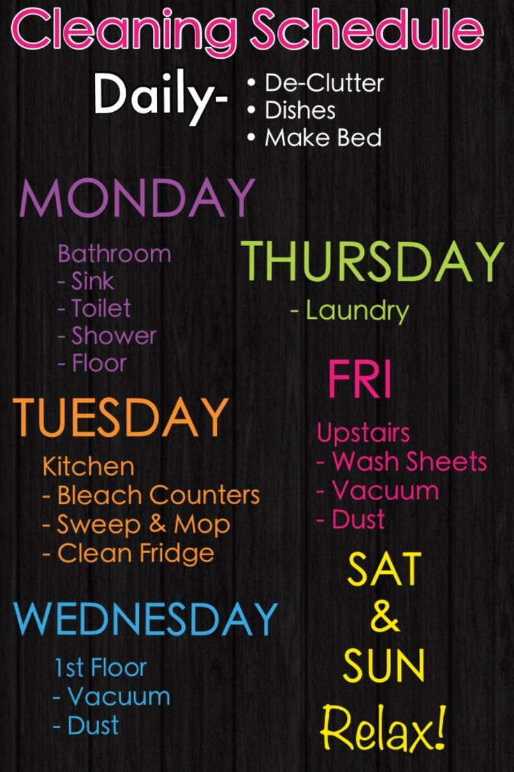 cleaning list - to avoid a busy weekend :)