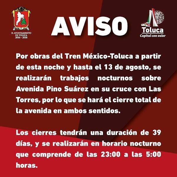 #AVISO Por obras del tren interurbano a partir de esta noche se realizarán trabajos nocturnos en Av. Pino Suárez en su cruce con Las Torres.