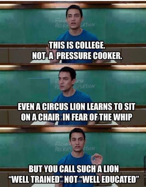 Quotes from the Bollywood movie 3 Idiots. This movie doesn't get old no matter how many times I watch it! Hardcore Aamir Khan fan!