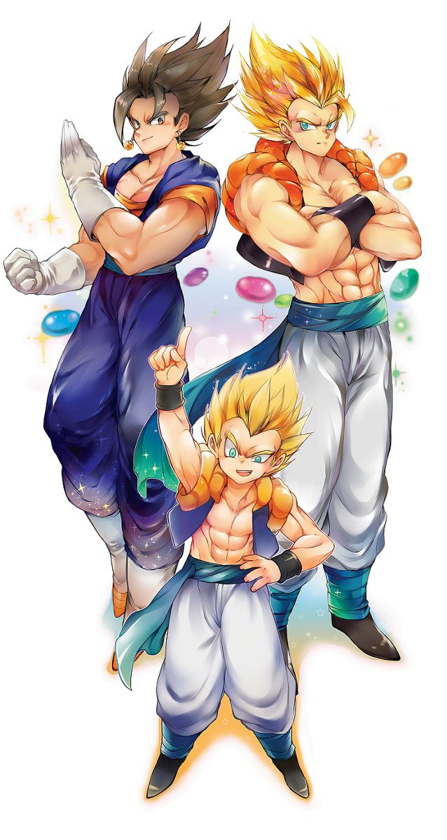 Vegito, Gogeta, and Gotenks