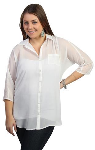 plus size chiffon button down top with lace shoulder