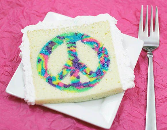 How To Make A Tie-Dye Cake. This is the coolest! Maybe not with the peace sign but still I think this would be fun just to try