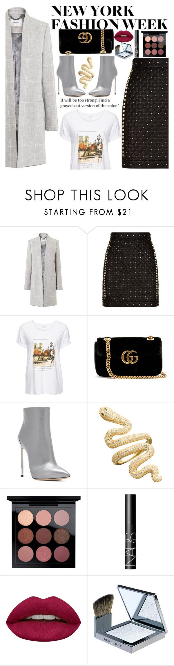 """""""Untitled #2487"""" by anarita11 ❤ liked on Polyvore featuring L.K.Bennett, Balmain, Gucci, Casadei, NARS Cosmetics, Huda Beauty and Burberry"""