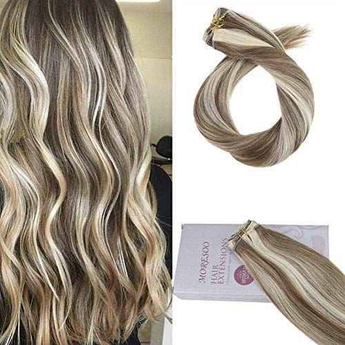 Enjoy exclusive for Moresoo 24 Inch Weft Sew Hair Extensions Human Hair Color 6 Brown Highlighted 60 Blonde Full Head Human Hair Weaving/Weft Premium Hair Extensions 100g/bundle online