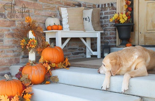 Fall Front Porch And Diy Outdoor Bench Plans My Autumn