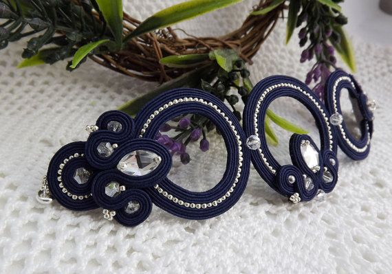 Dark blue silver Soutache bracelet with от JaneEJewelry на Etsy