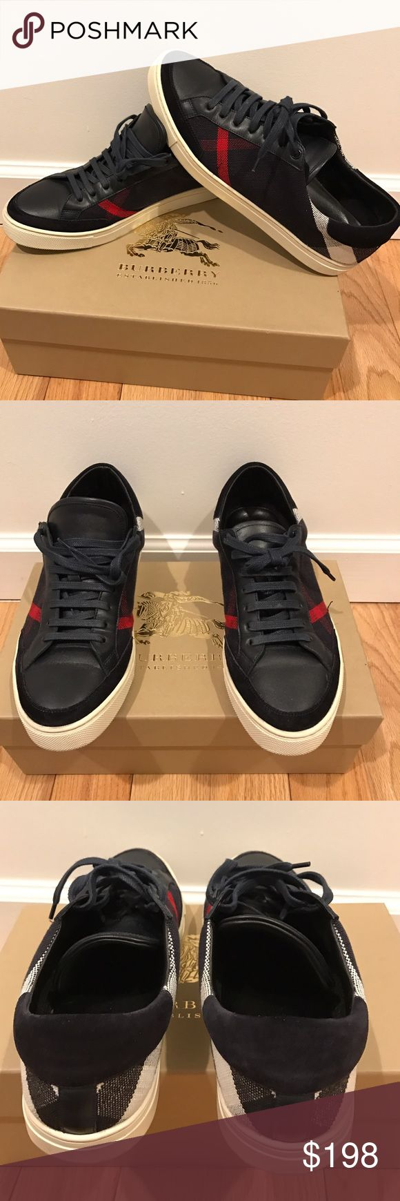 Men's Burberry Shoes which is an equivalent of a 10.5 us size. Good condition Burberry shoes for men that were very well taken care of. I would wipe them after every time my husband wore them. There navy blue (but can literally almost pass as black) with red and white. Ask questions if your a serious buyer. Burberry Shoes