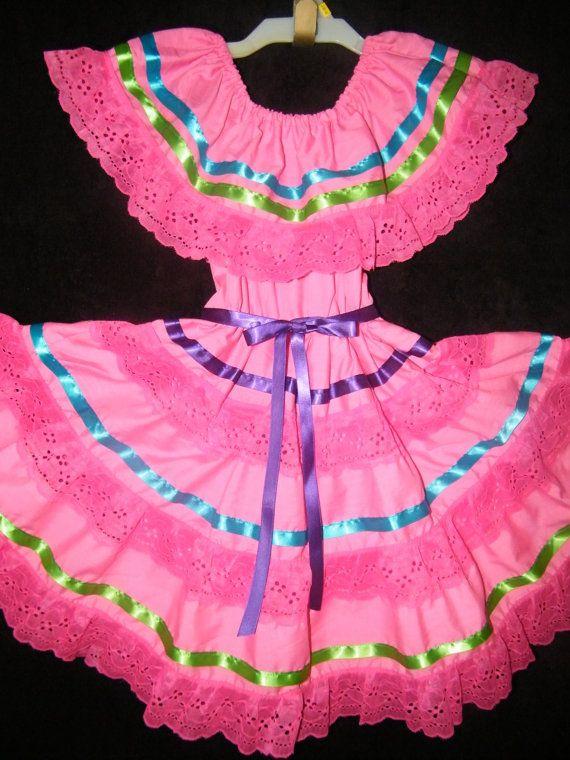 beautiful fiesta mexican hot pink girls dress