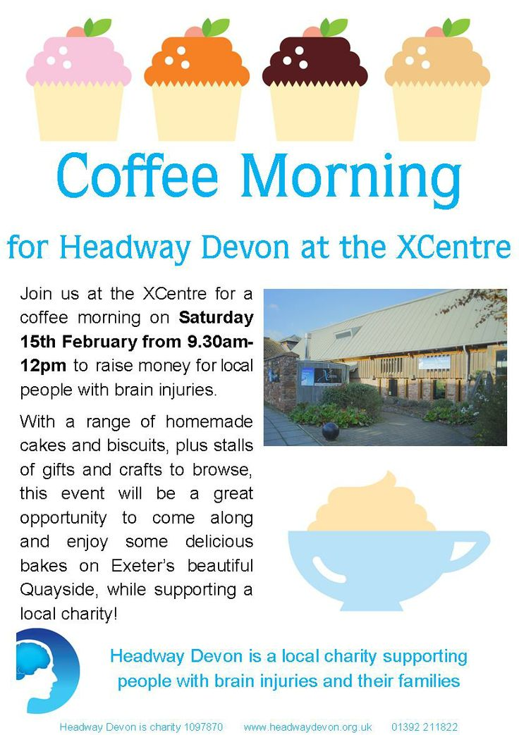 Join us for our first coffee morning at the XCentre, 9.30am-12pm on Saturday 15th February 2014. With a range of delicious homemade cakes and gift stalls to browse.