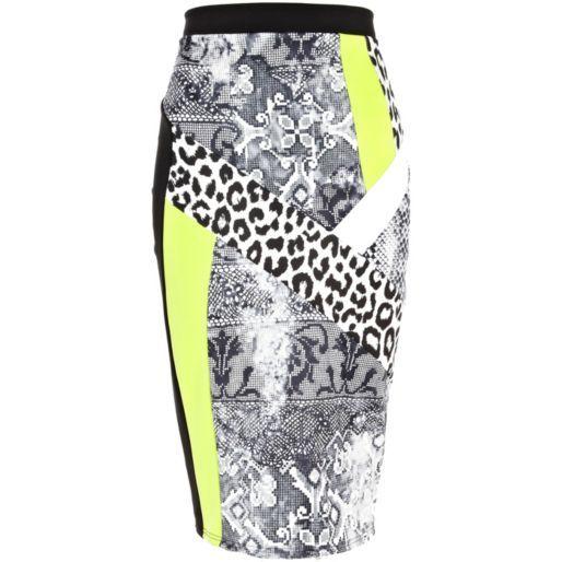 Black mixed print colour block pencil skirt - tube / pencil skirts - skirts - women