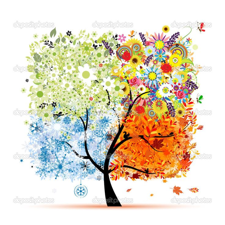 four seasons tree art - Google Search