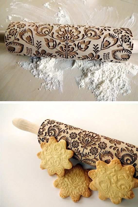 Make your cookies look extra fancy without any extra work by using a rolling pin imprinted with a fun pattern while rolling dough.