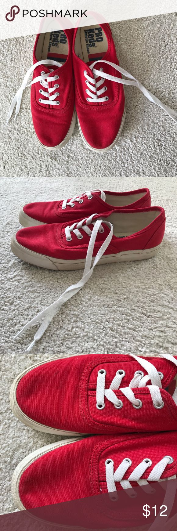 Red Pro Keds shoes Red Pro Keds sneakers. Size 7.5. Like new. Maybe worn them twice. Just been sitting in the closet. No tags and no box Keds Shoes Sneakers