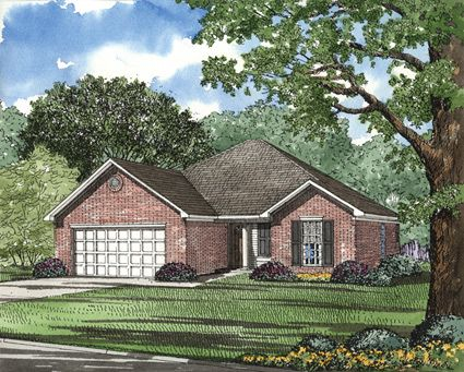 This charming three bedroom ranch style home makes for Brick house plans with photos