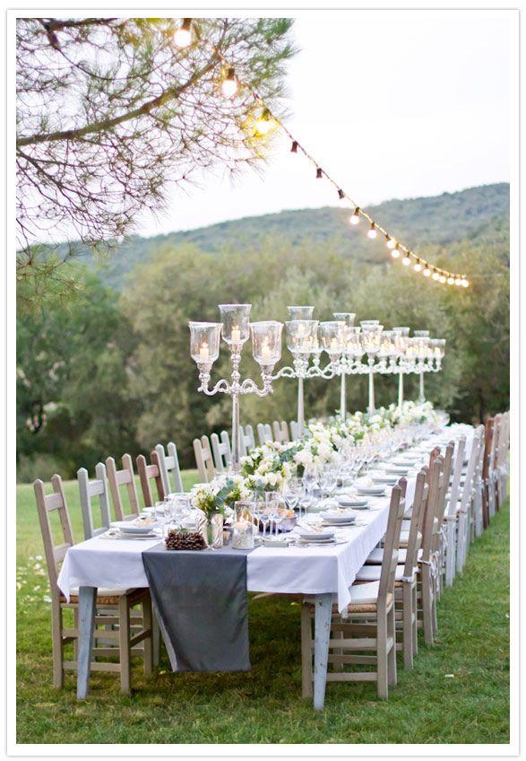 elegant bucolic tuscany outdoor wedding reception decor