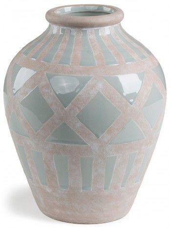 Vaso   in ceramica smaltato verde acqua, con un gradevole disegno geometrico  . Meraviglioso anche all'esterno sopra al vostro tavolo da giardino o in terrazzo.