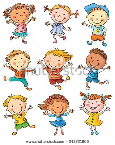 Nine happy cartoon kids dancing or jumping with joy, no gradients, isolated