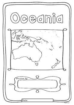 Kids love flags! As they colour in the flags they can learn about the countries the flags belong to and make their very own geography book about the 14 countries in the region of Oceania. One country per page with its flag and map to colour in and information to research: Capital City, Language Spoken, Population, Land Area, Currency, Religion and Interesting Facts.