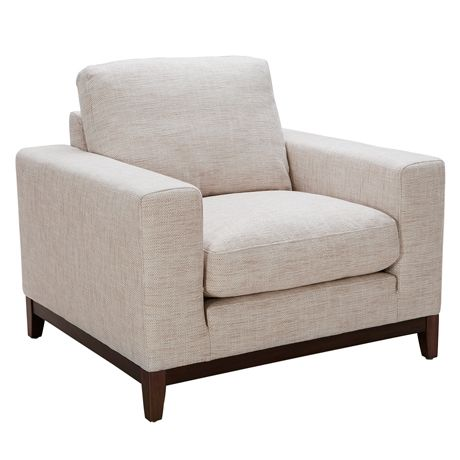 Zahra Armchair Alpha Natural.   This over-sized armchair will be just the thing you want to sink into after a long day. Luxurious feather and fibre filled cushions, a warm coloured timber plinth and modern fabrics come together in a laid-back and stylish living room piece.  http://www.freedom.com.au/furniture/sofas/fabric-sofas-modulars/23687134/zahra-armchair-alpha-natural/