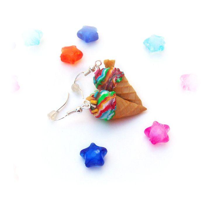Orecchini cono fimo gelato arcobaleno miniatura cibo pasta polimerica gioielli estivo kawaii, by Evangela Creazioni, 6,00€ su misshobby.com