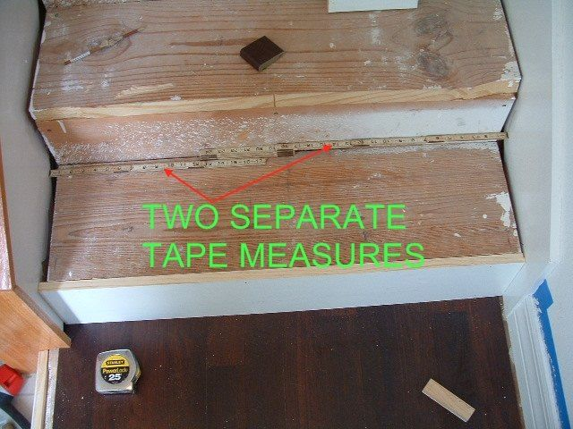Step 3: Stair Treads - I use two separate tape measures in order to get the exact width of the stair so when I cut the laminate stair tread it will fit exact