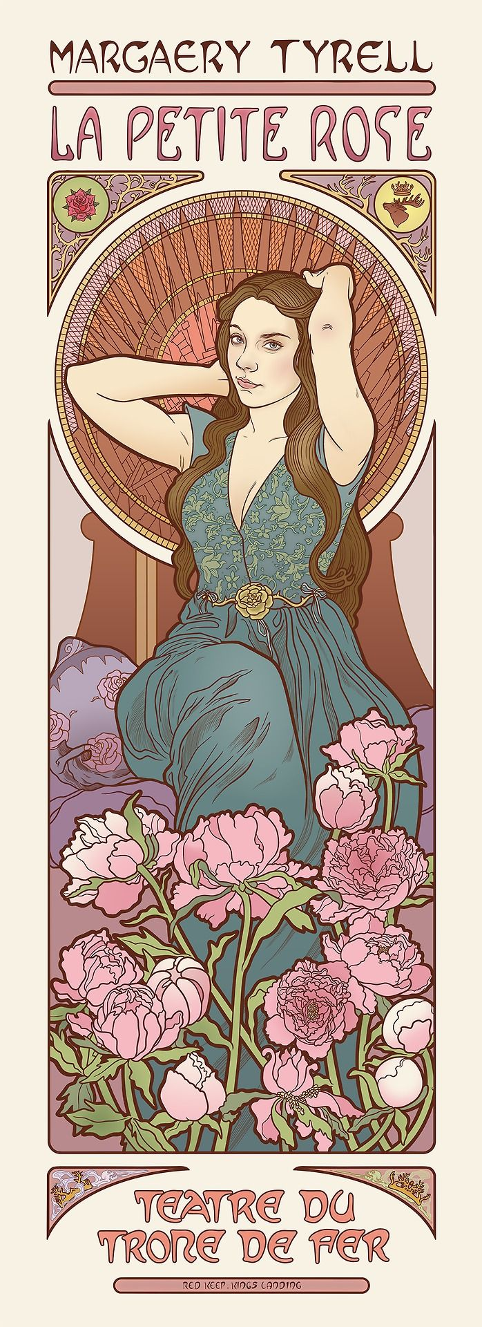 Game of Thrones ladies get melancholy Mucha-style theater posters (from io9.com) The Lady Margaery.