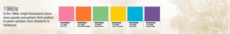 Colors of the 1960s // Pantone's 50th // color palette
