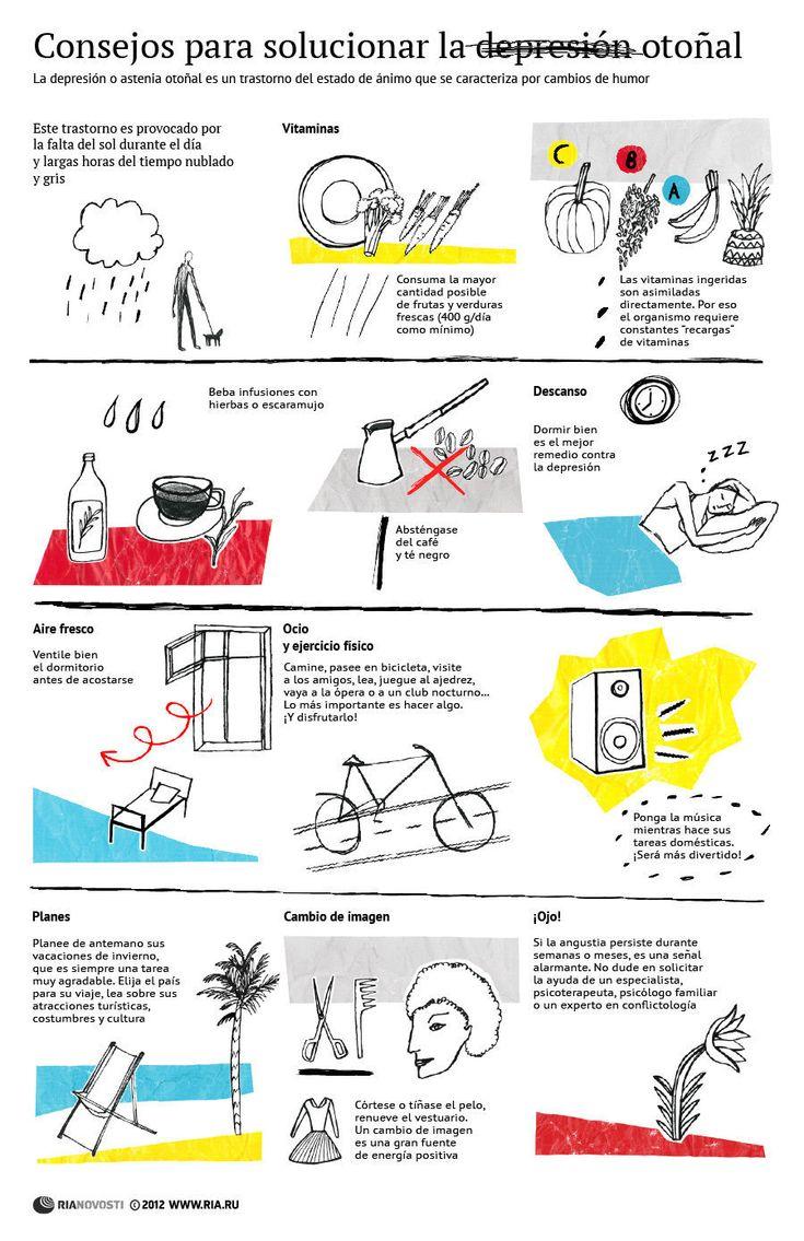 Cómo superar la depresión otoñal #infografia #infographic #health