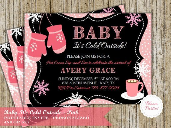 Baby Its Cold Outside Invitation - Pink Mittens Christmas Hot Cocoa Sip and See Invite - Printable, Digital - Holiday Baby Girl Shower
