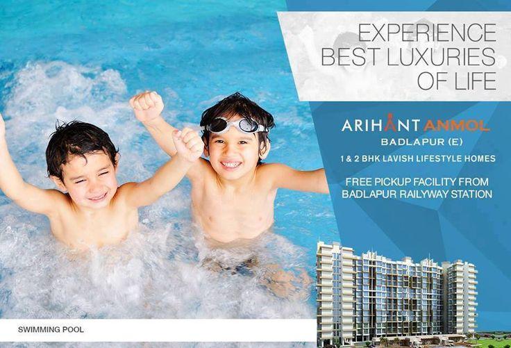 Arihant Anmol - Badlapur East 1 & 2 BHK Lavish Lifestyle Homes Swimming Pool http://www.asl.net.in/arihant-anmol.html #ArihantAnmol #RealEstate #Property #Badlapur #Mumbai