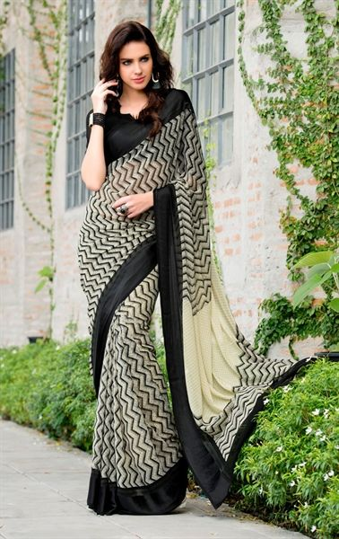 Picture of Charismatic Black and Cream Printed Saree